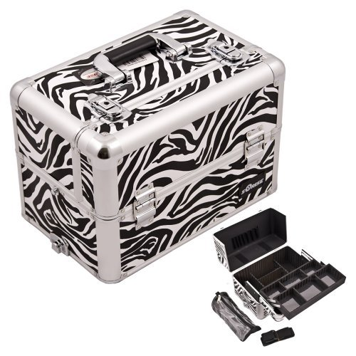 Sunrise-White-Interchangeable-Easy-Slide-Extendable-Tray-Zebra-Textured-Printing-Professional-Aluminum-Cosmetic-Makeup-Case-With-Dividers-Brush-Holder-And-Clear-Bag-E3307-by-CASEMETIC