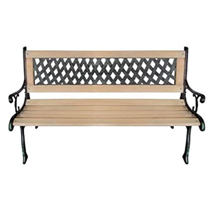 Sensational Amazon Com Outdoor Patio Metal Wooden Garden Bench Lounge Caraccident5 Cool Chair Designs And Ideas Caraccident5Info