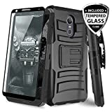#9: TJS LG Stylo 4 2018 / LG Q Stylus Case, with [Full Coverage Tempered Glass Screen Protector] Belt Clip Holster Dual Layer Hybrid Shock Absorbing Resist Kickstand Armor Phone Case Cover (Black/Black)