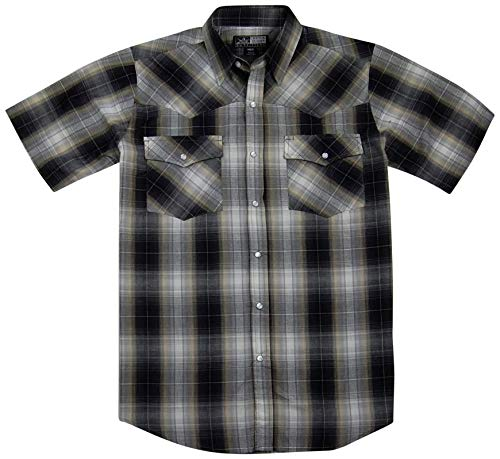 Canyon Guide Men's Short Sleeve Plaid Western Shirt | Easy Open Snap Front (X-Large, Black/Tan (809))