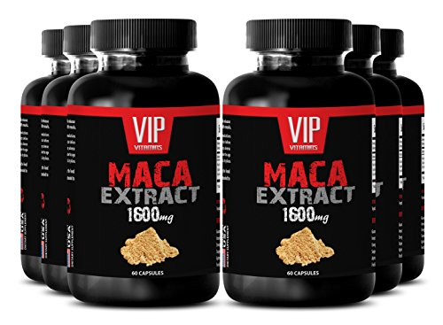 Maca male supplement - Maca 1600mg 4: 1 Extract - Increase in sperm production (6 Bottles 360 Capsules) by VIP VITAMINS