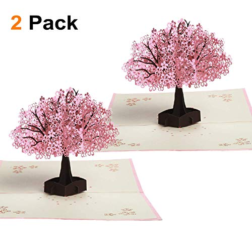 Cherry Blossom Pop Up Card, ZOUTOG 3D Funny Birthday Cards, Flowers Greeting Thank You Card, Anniversary Gifts for Her - 2 Pack