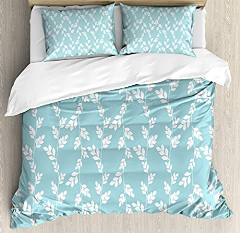 Rustic Duvet Cover Set by Ambesonne, Rural Meadow Field Yard Wildflowers Farmhouse Style Cottage Countryside Garden, 3 Piece Bedding Set with Pillow Shams, King Size, Light Blue - Cottage Flower Bedding