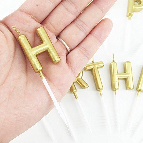 Best Svan Happy Birthday Letter Cake Candles Gold