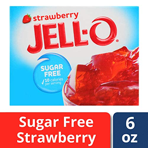 (Jell-O Sugar-Free Strawberry Gelatin Dessert Mix, 0.6 oz Box)