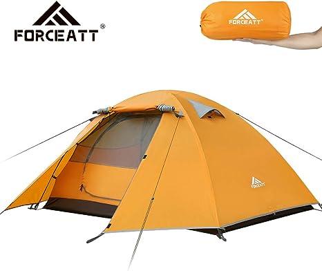 Forceatt Tienda De Campaña 2 Personas, con 100% A Prueba De UV/Viento/Impermeable, Tienda de Techo de Doble Capa Portátil Ultraligera, para Trekking, Camping, Playa, Aventura Etc: Amazon.es: Deportes y aire libre