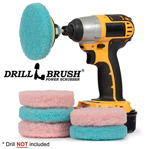 Drill Brush - Cleaning Supplies - Bathroom Accessories - Scrub Pads - Shower Cleaner - Bathtub - Bath Mat - Bathroom Sink - Scrubber - Hard Water Stain Remover - Glass Cleaner - Shower Door Cleaner