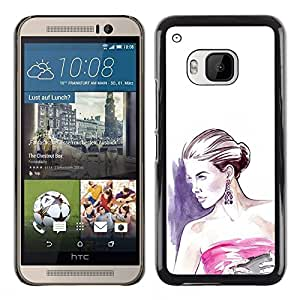 Be Good Phone Accessory // Dura Cáscara cubierta Protectora Caso Carcasa Funda de Protección para HTC One M9 // fashion woman purple white dress