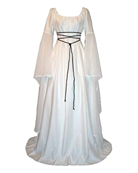 Mujer Mangas Largas Vestido Medieval De Señora Maxi Vestido Renacimiento Gótico Vestido
