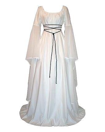 36645fcdabc Femmes Robes Médiévale Manches Longues Parti Costume Déguisements Halloween  De Mariée Gothique Robe Blanc S