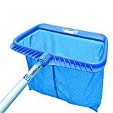 Yunhigh Swimming Pool Skimmer Net with Fine Mesh for Hot Tub Spa Aquarium Pond Marine Tank Fountain Cleaning- Blue