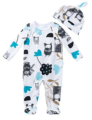 (D.B.PRINCE Newborn Baby Boy Girl Footed Pajamas Sleepwear Cotton Long Sleeve Bodysuit Christmas Clothes Outfit with Hat(Blue, 12-24))