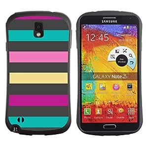 Fuerte Suave TPU GEL Caso Carcasa de Protección Funda para Samsung Note 3 N9000 N9002 N9005 / Business Style Lines Teal Pink Purple Summer Pattern