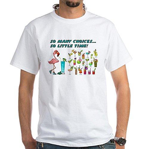 (CafePress Flamingo Happy Hour T-Shirt 100% Cotton T-Shirt, White)