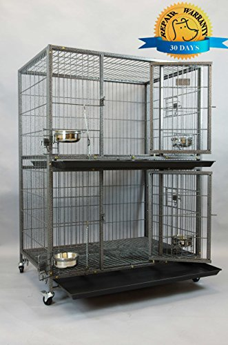 Homey Pet New 37″ Two Tier Pet Dog Cat Cage with Feeding Door and Bowls