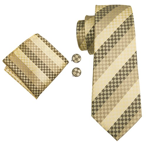 Hi-Tie Silk Tie for Men Necktie Set and Pocket Square Mens Ties Fashion Yellow Check Stripe ()
