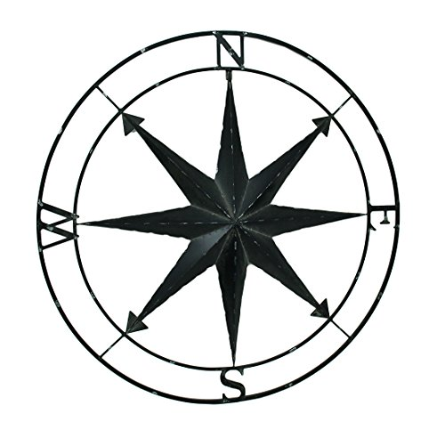 Zeckos Compass Rose Lightly Distressed Metal Wall Hanging ()