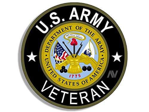 Army Veteran Sticker - American Vinyl Round U.S. Army Veteran Sticker (Bumper Soldier gi us United States Vet)