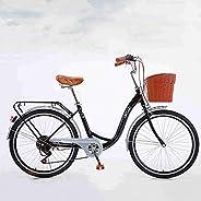 Shlia Womens Beach Cruiser Bike, 7-Speed Drivetrain, Rear Rack, 26-Inch Wheels, Classic Retro Bicycle, Comfort