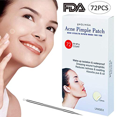 atch - 72Count Hydrocolloid Bandages Acne Spot Treatment Absorbing Zit Cover Healing Dots by UNGLINGA, Drug-free Non-drying, Φ12mm ()