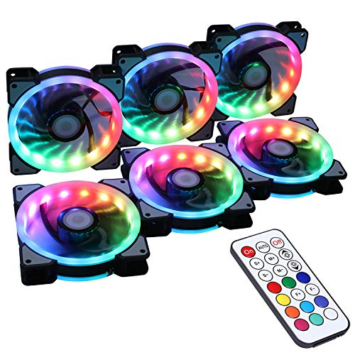 LEDdess Wireless RF Control RGB LED 120mm Case Fan for PC Cases, CPU Coolers, Radiators System (6pcs RGB Fans, 2nd Gen RF Remote Controller, A Series) (Rgb Led 1000 Pcs)