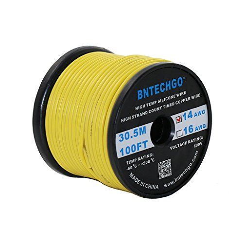 BNTECHGO 14 Gauge Silicone Wire Spool Yellow 100 feet Ultra Flexible High Temp 200 deg C 600V 14AWG Silicone Rubber Wire 400 Strands of Tinned Copper Wire Stranded Wire for Model Battery Low Impedance