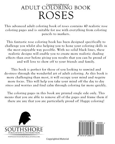 Amazon.com: Adult Coloring Book Roses: Advanced Realistic Rose ...