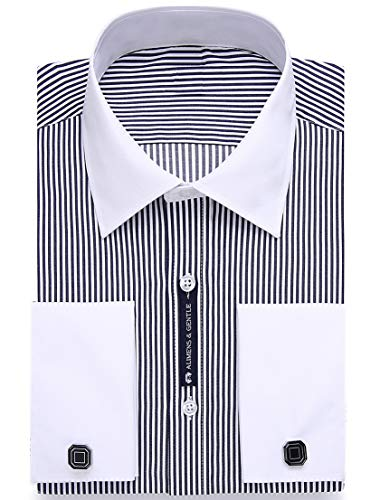Dress Collar Herringbone Shirt White - Alimens & Gentle Contrast Collar Stripe French Cuff Regular Fit Dress Shirts(Color: Stripe Black, Size:16