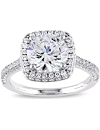 925 Sterling Silver Cushion Cut Halo Solitaire Engagement Ring- 2.45 Cttw cubic zirconia