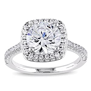 PORI JEWELERS .925 Sterling Silver Cushion Cut Halo Solitaire Engagement Ring- 2.45 Cttw CZ
