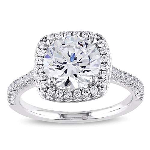 PORI JEWELERS 925 Sterling Silver Cushion Cut Halo Solitaire Engagement Ring- 2.45 Cttw Cubic Zirconia (White, 10)