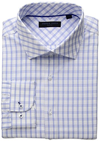 Andrew Fezza Men's Premium Fashion Windowpane Check Dress Shirt, Blue/White, 15.5