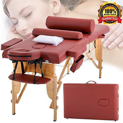 Massage Table Massage Bed Spa Table 2 Folding 73″ Height Adjustable Cradle Portable Massage Salon Table W/Sheet Bolster Hanger&Foam Wooden Frame Spa Facial Beauty Therapy Facial Salon Tattoo Bed
