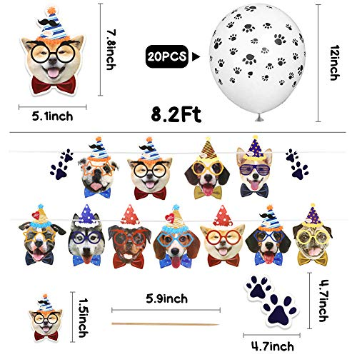 LovesTown 57 Pcs Dog Banner Balloons Set,Dog Birthday Decorations 12inch Dog Paw Print Balloons Cake Topper Dog Themed Party Decorations for Pet Dog Puppy Party Supplies