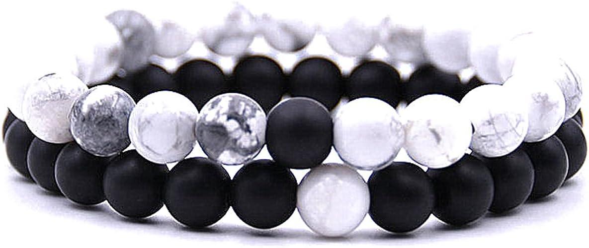 Brazalete Con Natural Piedras Preciosas Howlite 6 y 8 mm