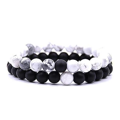 Holattio Men Women 8mm Tiger Eye Agate Howlite Stone Beads Bracelet Elastic Natural Energy Stone Yoga Bracelet Bangle