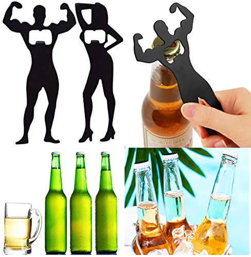 - Beer Bottle Opener Keychain Flat Metal Bottle Opener wall mounted Human form for Men Bar Restaurant (15x8cm, Black)