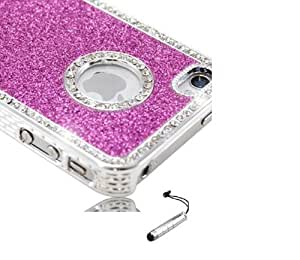 New Hard HOT PINK Glitter and Diamante / Diamonte Bling Jewel case for iPhone 4S - With FREE SILVER Mini Stylus by ruishername