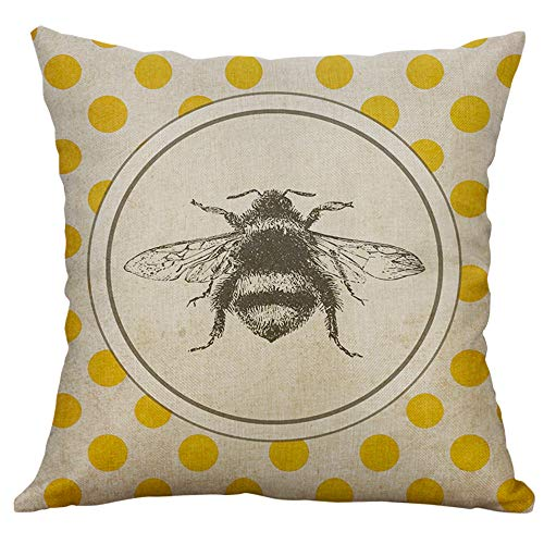 Sunhusing Vintage Little Insect Series Printing Linen Hug Pillowcase Cushion Cover