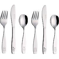 Exzact Stainless Steel 6 pcs Children's Cutlery Set/Flatware - 2 x Forks, 2 x Safe Dinnerknife, 2 x Dinner Spoons (Dog…