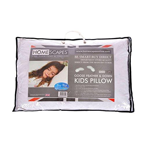 Homescapes Kids Pillow 40 x 60cm - Goose Feather Down Filling - 100% Cotton...