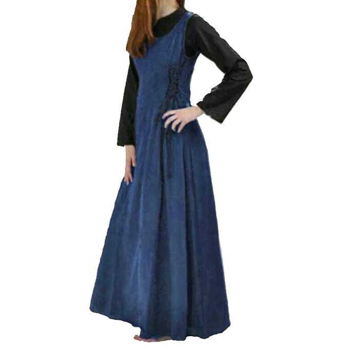 Mujeres Vestido Largo Vintage Cuello Redondo Traje Medieval ...