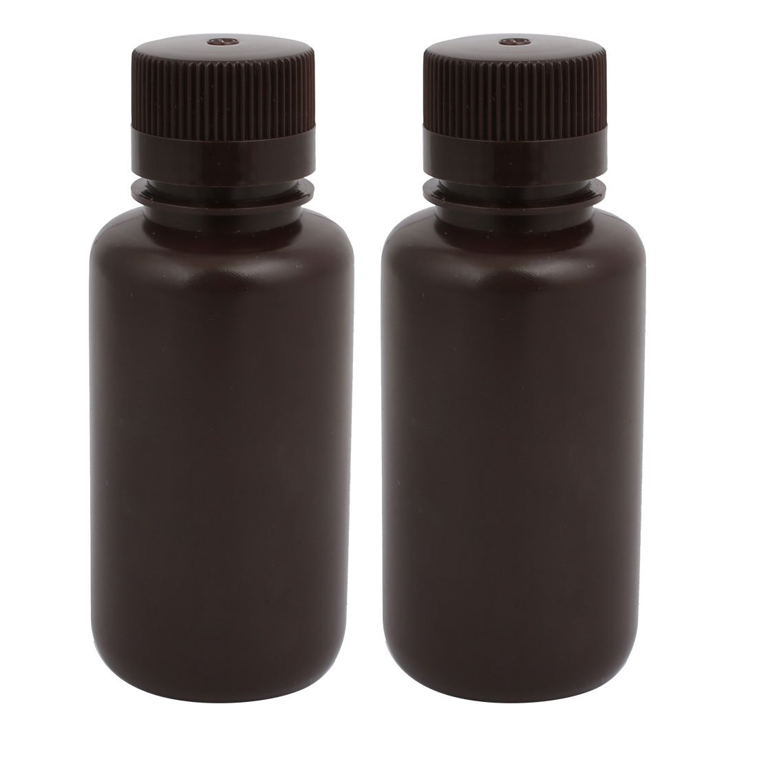 uxcell 2pcs 62mm Diameter 145mm Height 250ml Plastic Round Shaped Bottle Brown