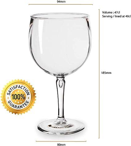 RB Copas Balon Gin C/óctel Negro Pl/ástico Premium Irrompible Reutilizable 40cl Set de 6
