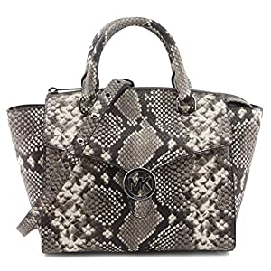 MICHAEL Michael Kors Women's Vanna Medium Satchel Handbag Embossed Natural Leather 35T7SV3S2E, Multi