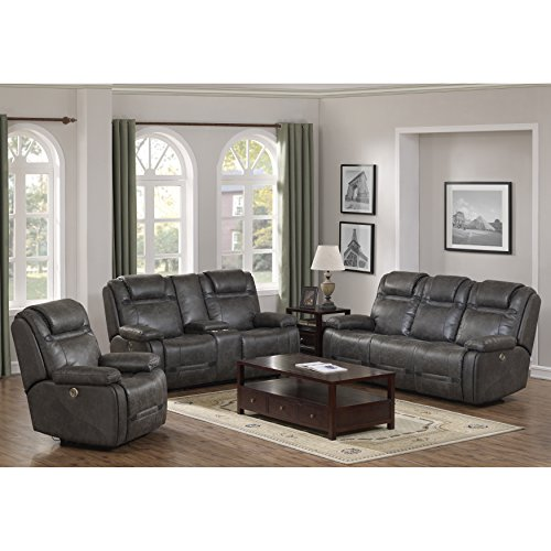 Traun Leather Air Power Recline and Headrest Sofa, Loveseat and Recliner Set in Charcoal