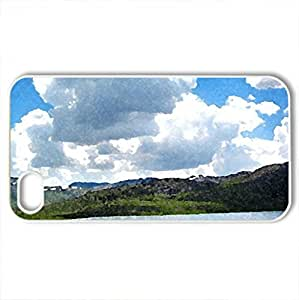 Sheosar_Lake - Case Cover for iPhone 4 and 4s (Lakes Series, Watercolor style, White)