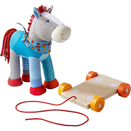HABA Horse Bluey Pull Toy - Colorful Patchwork Soft Cuddly Pony Can be Enjoyed On or Off The Wooden Base with Wheels & Pull String ()