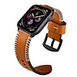 Kartice for Apple Watch Band 44mm Leather Handmade Vintage Replacement Watchbands with Stainless Steel Black Clasp for Apple Watch Series 4 44mm, Series 3,2,1 42mm (Brown)