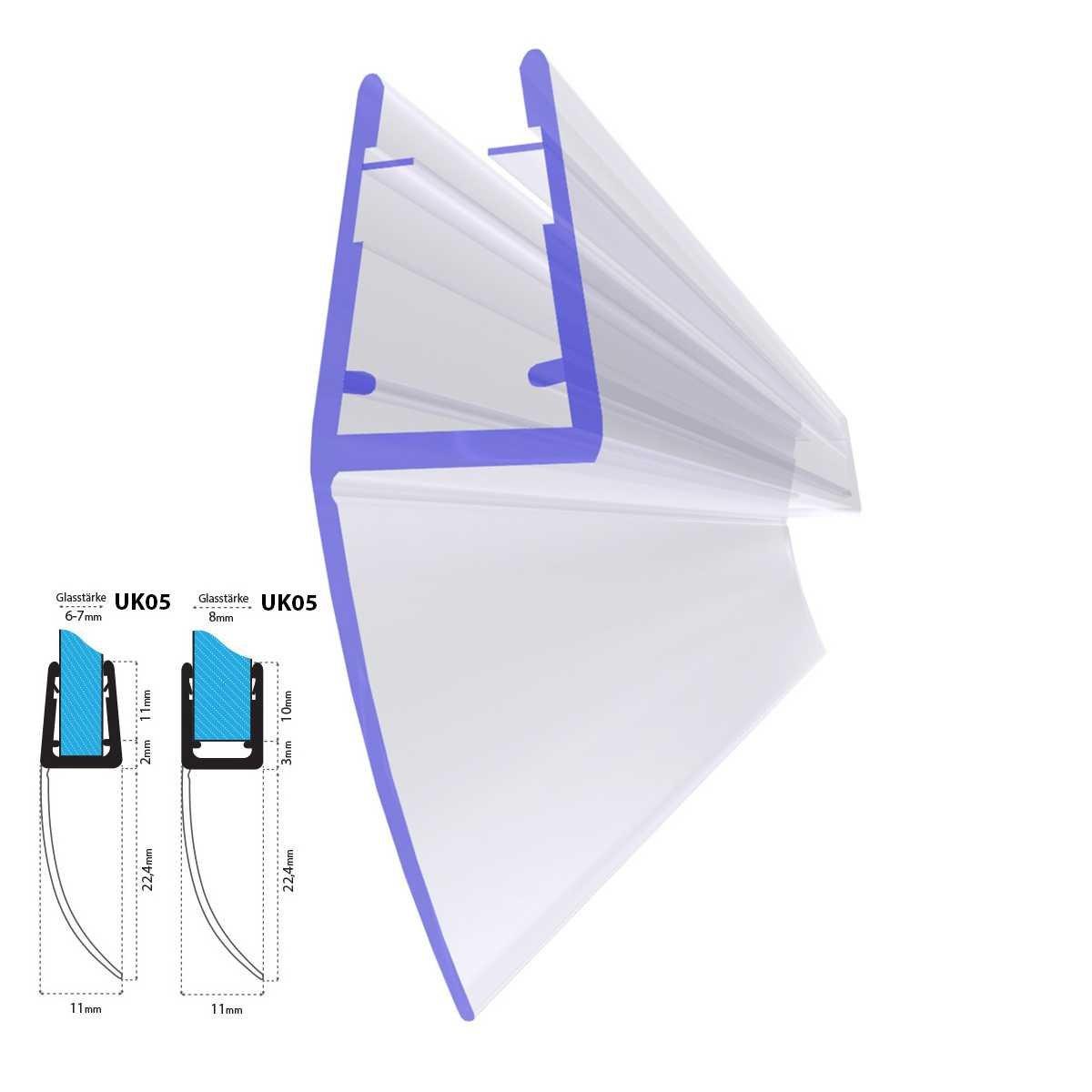 Joint d/étanch/éit/é de rechange pour verre de douche d/épaisseur 6mm// 7mm// 8mm protection surtensions de cabine de douche UK05 50cm